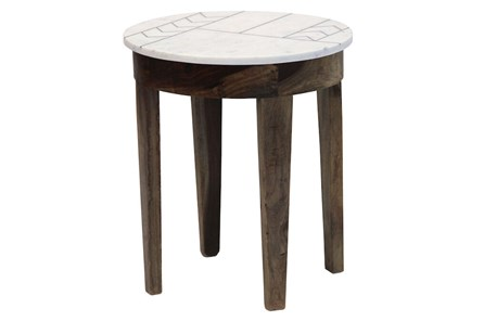 Marble With Inlay Side Table