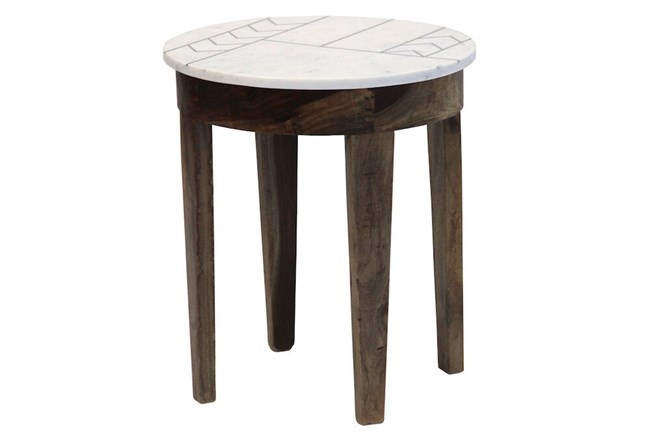 Marble With Inlay Side Table - 360