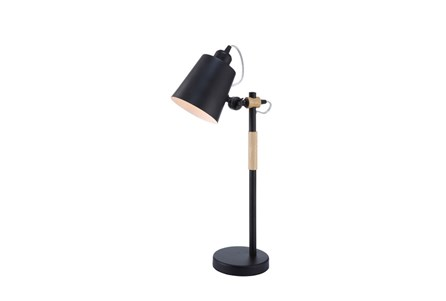 Desk Lamp-Matte Black And Wood