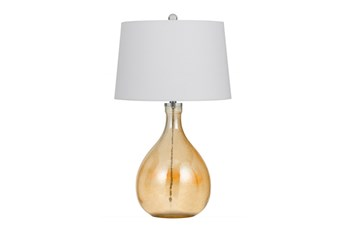 Table Lamp-Orange Tinted Glass