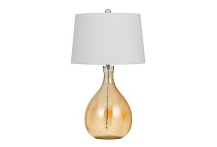 Table Lamp-Orange Tinted Glass