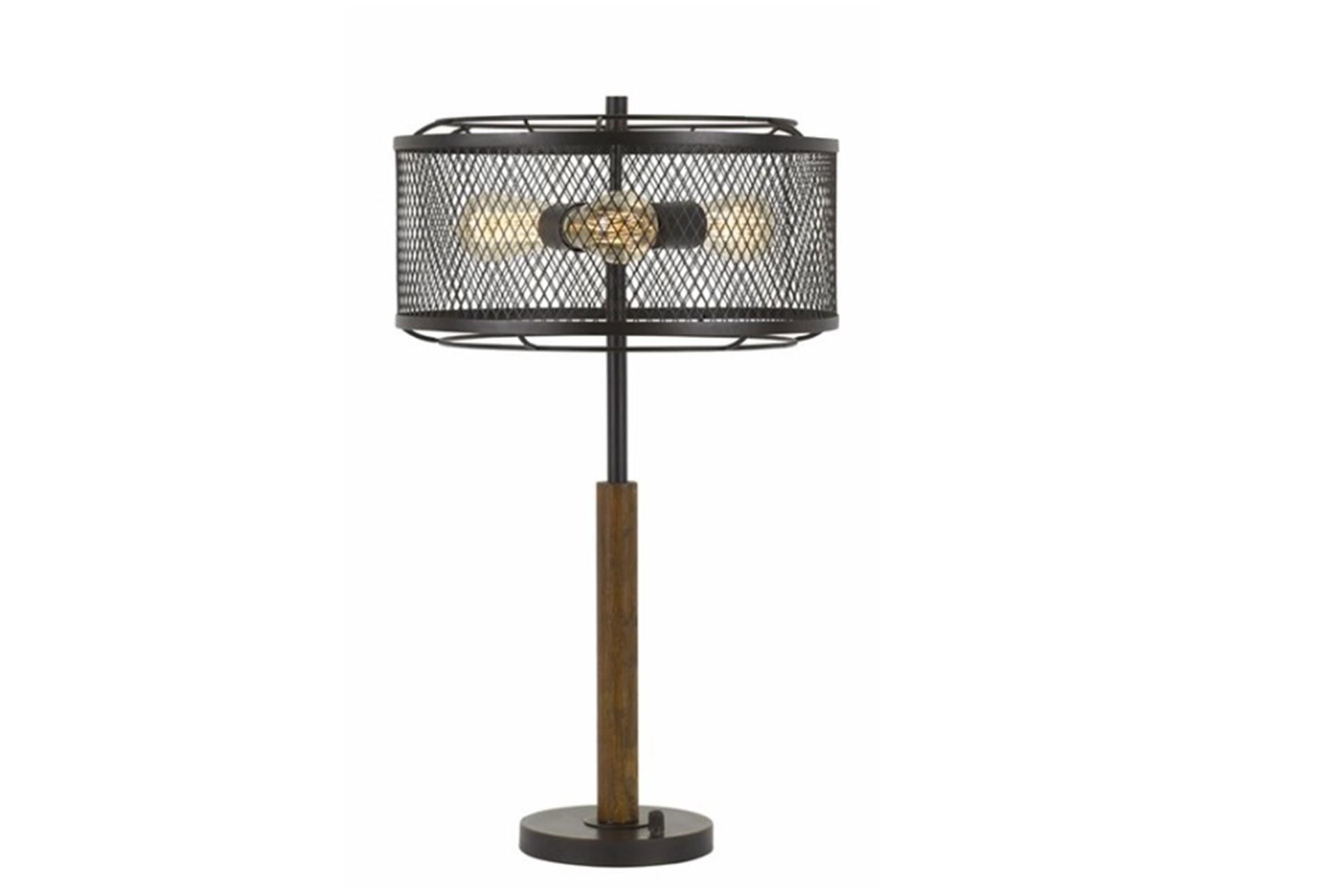 Table Lamp Mesh Metal And Wood