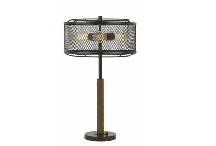 Table Lamp-Mesh Metal And Wood