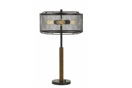 Table Lamp-Mesh Metal And Wood