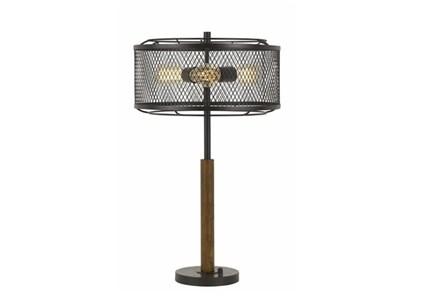 Table Lamp-Mesh Metal And Wood - Main