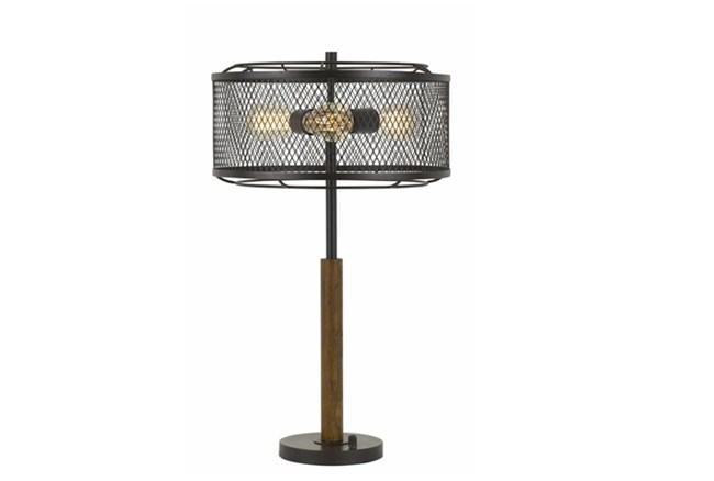 Table Lamp-Mesh Metal And Wood - 360