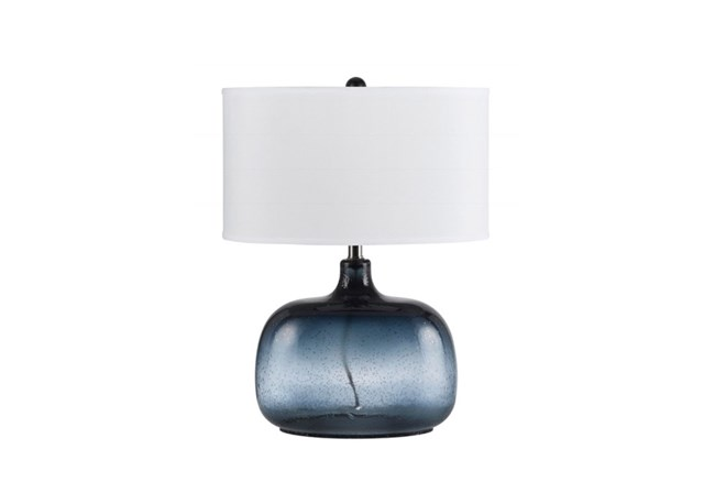25 Inch Navy Tinted Glass Table Lamp With White Oval Shade - 360