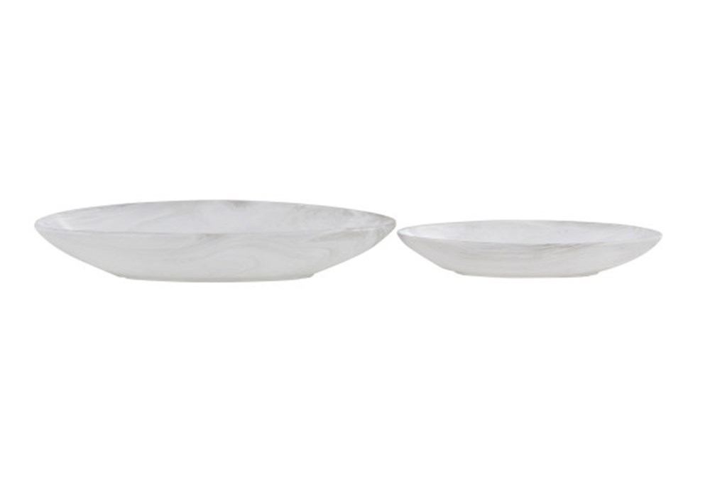 Set Of 2 White Ceramic Bowl