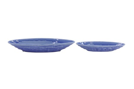 Set Of 2 Blue Ceramic Bowl