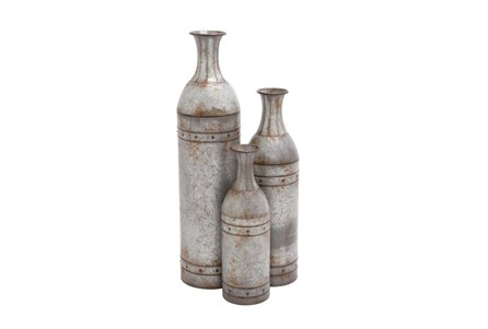 Set Of 3 Rustic Tall Metal Vase