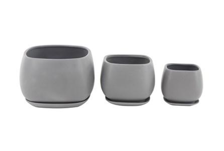 Set Of 3 Grey Round Ceramic Planter