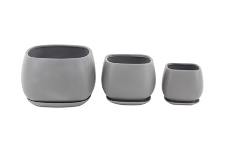 Set Of 3 Grey Round Ceramic Planter - Main