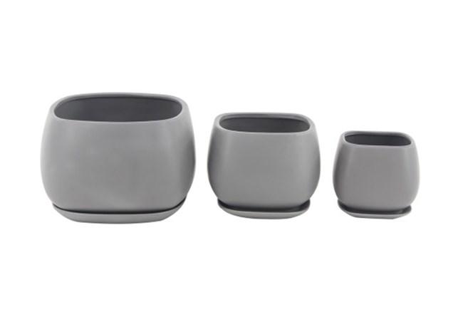 Set Of 3 Grey Round Ceramic Planter - 360