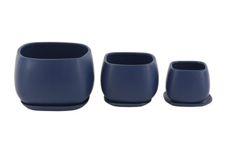 Set Of 3 Navy Round Ceramic Planter