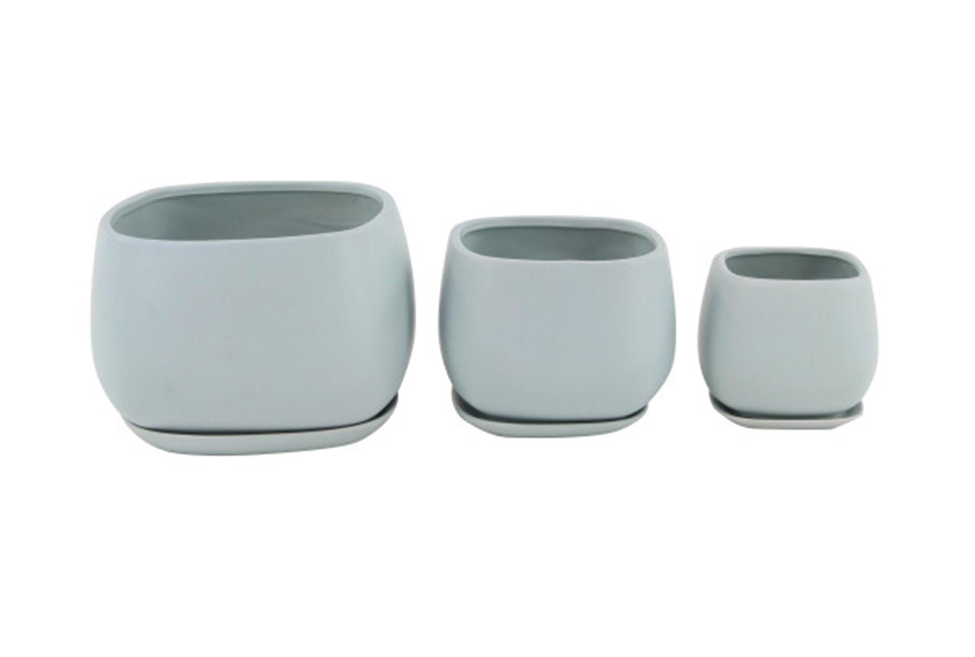 Set Of 3 White Round Ceramic Planter Living Spaces