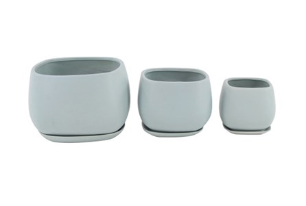 Set Of 3 White Round Ceramic Planter