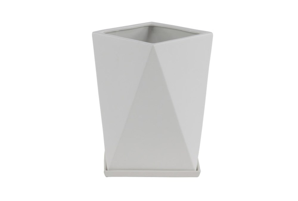 13 Inch White Faceted Vase