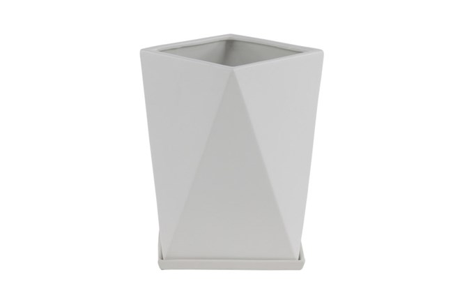 13 Inch White Faceted Vase - 360