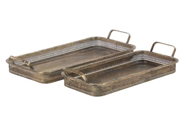 Antique Bronze Metal Tray - 360