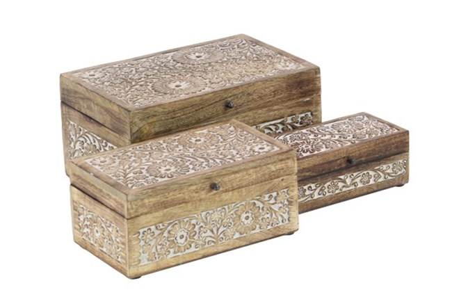 Set Of 3 Wood Carved Box - 360