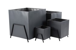 Set Of 4 Black Metal Planters