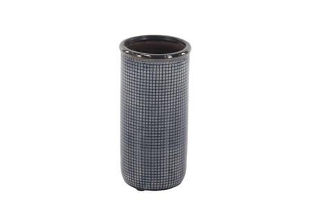 12 Inch Blue Grey Pixeled Vase
