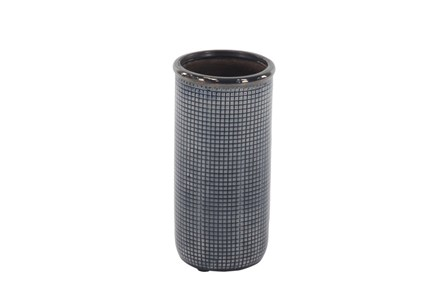 12 Inch Blue Grey Pixeled Vase