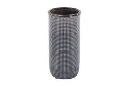 16 Inch Blue Grey Pixeled Vase