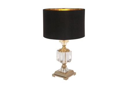 Table Lamp-Crystal With Black Shade - Main