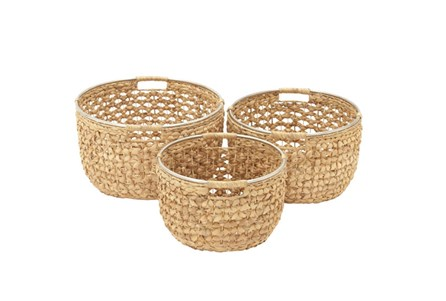 Set Of 3 Seagrass Round Baskets