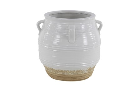 15 Inch White Painted Ceramic Jug