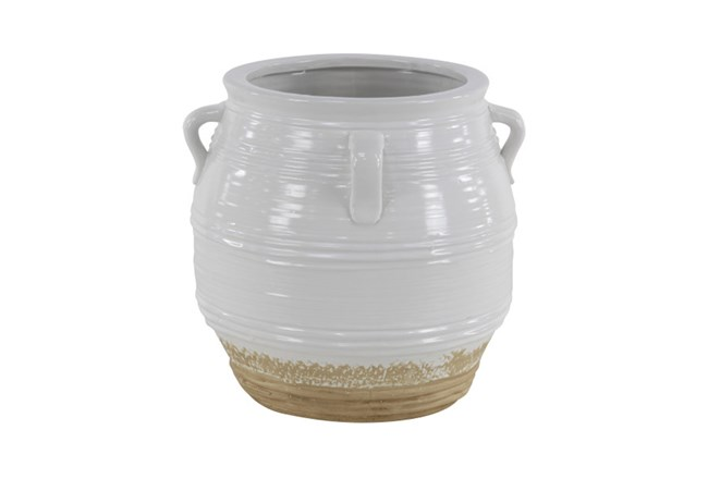 15 Inch White Painted Ceramic Jug - 360
