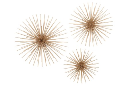 Set Of 3 Gold Starburst Wall Decor