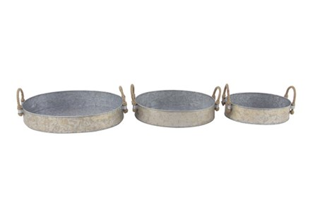 Set Of 3 Galvanized Round Trays