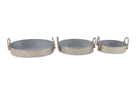 Set Of 3 Galvanized Round Trays
