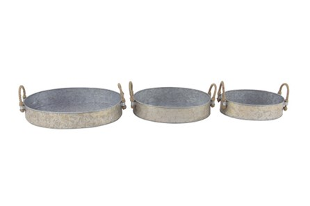 Set Of 3 Galvanized Round Trays - Main