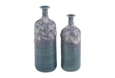 14 Inch Blue Textured Vase