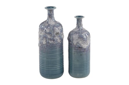 14 Inch Blue Textured Vase - Main