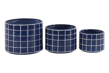 Set Of 3 Blue And White Checked Planters