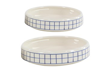 Set Of 2 White And Blue Checked Table Planter