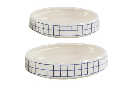 Set Of 2 White And Blue Checked Table Planter - Main