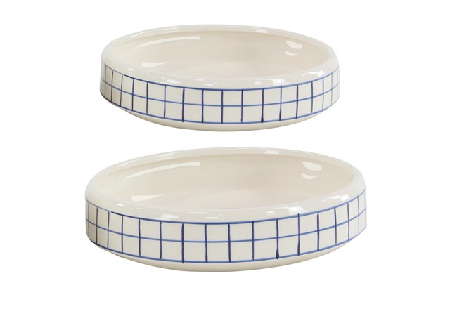 Set Of 2 White And Blue Checked Table Planter - 360