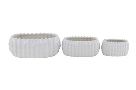 Set Of 3 White Glaze Table Planter - Main