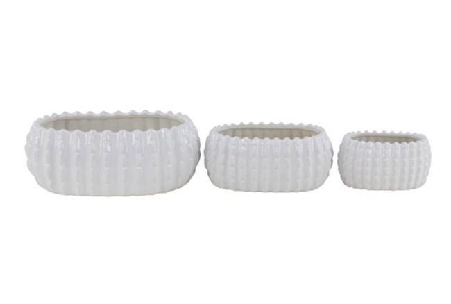 Set Of 3 White Glaze Table Planter - 360