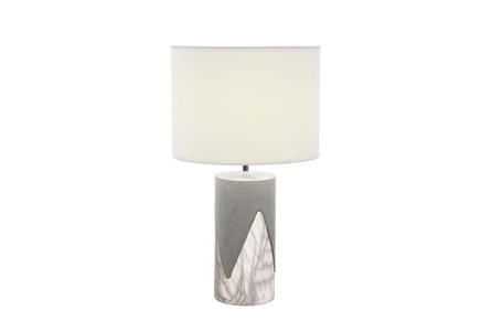 Table Lamp-Concrete With Silver Drip