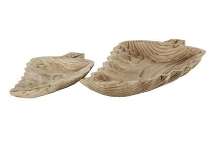 Set Of 2 Wood Leaf Tray