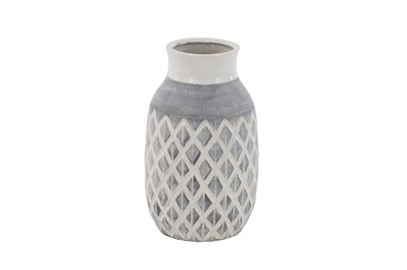 13 Inch White Stone And Ceramic Vase