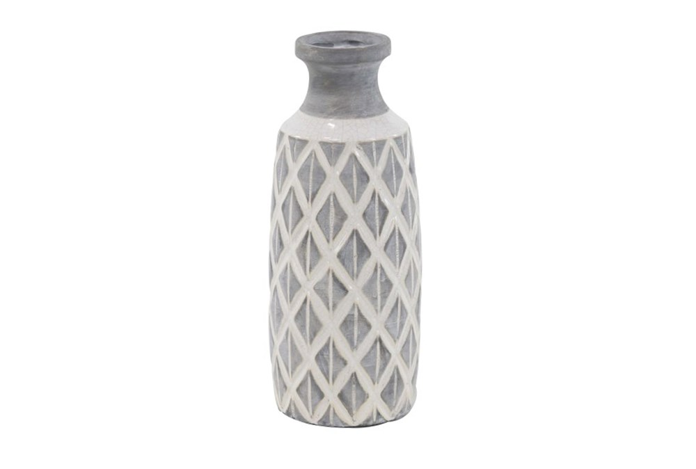 16 Inch White Stone And Ceramic Vase