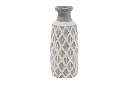 16 Inch White Stone And Ceramic Vase - Main