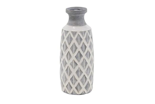 16 Inch White Stone And Ceramic Vase - 360